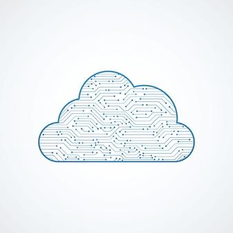 Placa de circuito azul em forma de nuvem