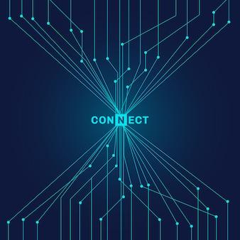 Placa de circuito azul futurista abstrata no conceito de conexão de tecnologia digital de fundo escuro