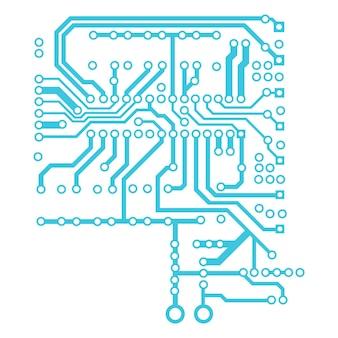 Placa de circuito azul isolada no branco. linhas largas e alfinetes redondos nas pontas. elemento para projetos técnicos. vetor eps 10.