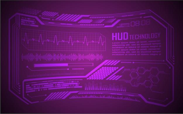 Placa de circuito binário futura tecnologia, fundo azul do conceito de segurança cibernética hud, ecg