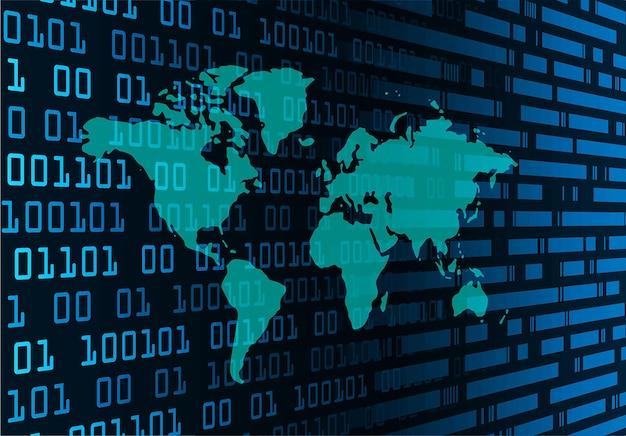 Placa de circuito binário mundial tecnologia futura azul hud conceito de segurança cibernética.