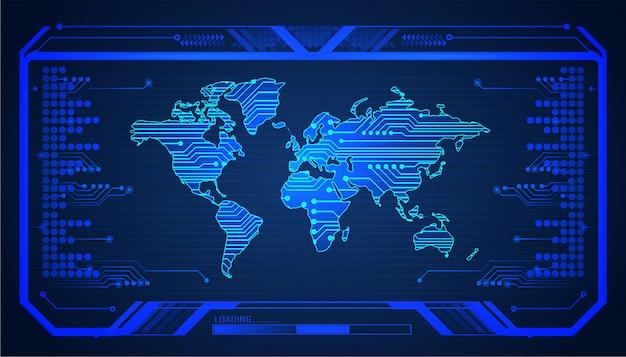 Placa de circuito binário tecnologia futura, mundo azul hud cyber segurança conceito fundo