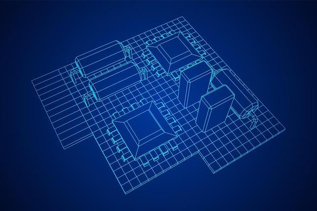 Placa de circuito componentes eletrônicos do computador placa-mãe wireframe ilustração vetorial low poly