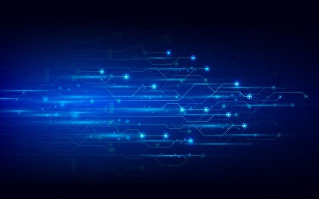 Placa de circuito de tecnologia abstrata de vetor em fundo azul escuro