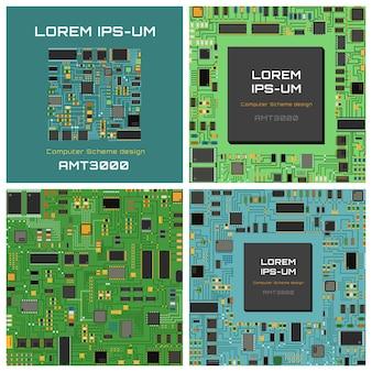 Placa de circuito eletrônico de chip de computador com processador