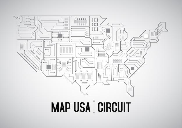 Placa de circuito eua mapa cinza