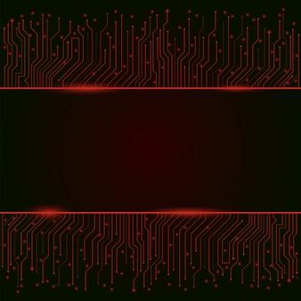 Placa de circuito, fundo abstrato vermelho luzes