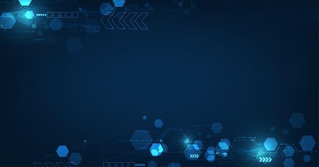 Placa de circuito futurista abstrata e hexágonos em fundo de cor azul escuro.