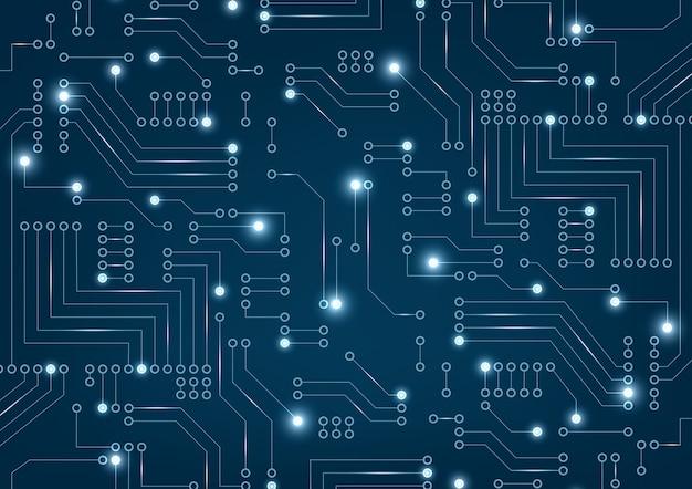 Placa de circuito futurista abstrata em azul escuro