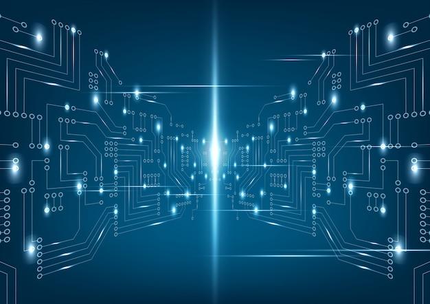 Placa de circuito futurista abstrata em fundo azul escuro.