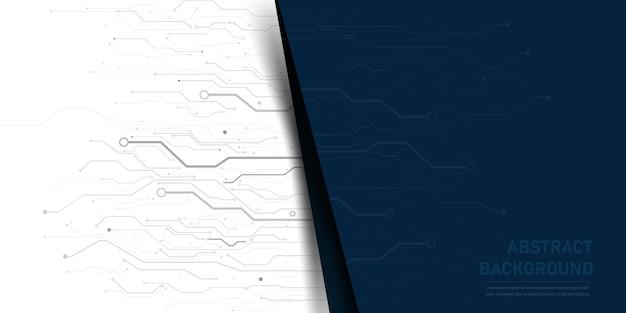 Placa de circuito impresso eletrônico de fundo abstrato, com linha e ponto de conexão