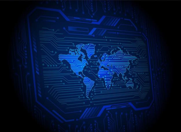 Placa de circuito mundial tecnologia futura, fundo azul hud cyber segurança,
