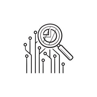 Placa de circuito sob o ícone de doodle de contorno desenhado de mão de lupa. análise de dados, percepção de dados, conceito de mineração de dados