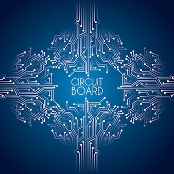 Placa de circuito sobre ilustração vetorial de fundo azul