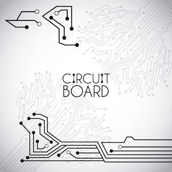 Placa de circuito sobre ilustração vetorial de fundo vintage