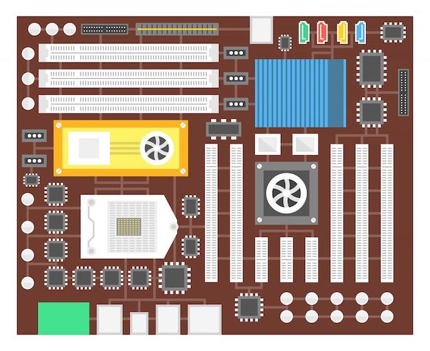 Placa de circuito. tecnologia de processador de hardware de computador eletrônico. chip digital da placa-mãe