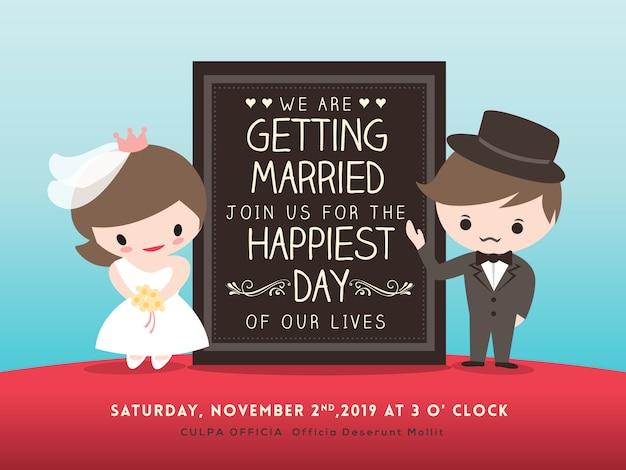 Placa de convite de casamento com desenho de noivo e noiva