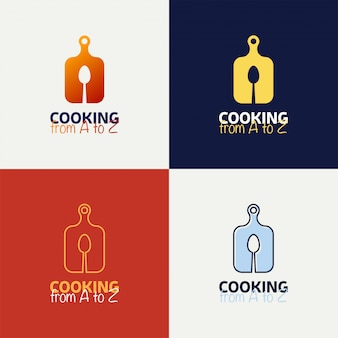 Placa de corte com conjunto de logotipo de colher.