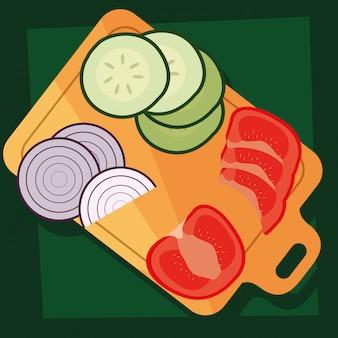 Placa de cozinha com legumes frescos