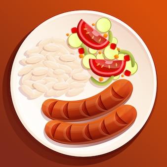 Placa de desenho animado na mesa com salsichas, arroz e salada