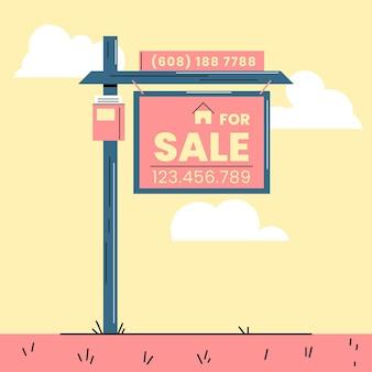 Placa de design plano de venda de quintal