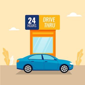 Placa de direção com carro