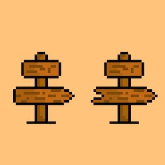 Placa de direção de madeira com estilo pixel art