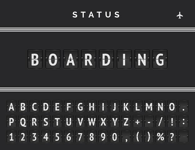 Placa de embarque do aeroporto com fonte flip analógica e desenho vetorial de marcação de faixa tripla. painel de voo ou trem com status de embarque