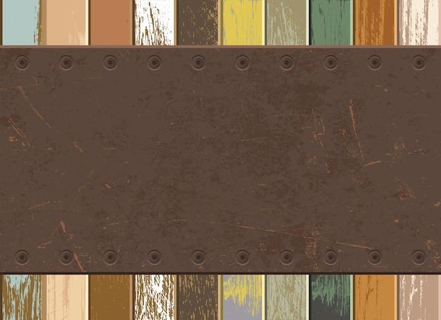 Placa de ferro enferrujada e fundo de madeira vintage