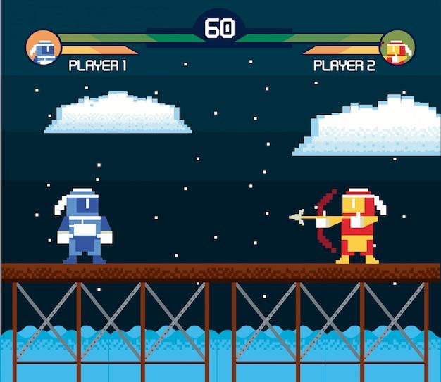 Placa de fundo de arcade de tela de videogame retrô