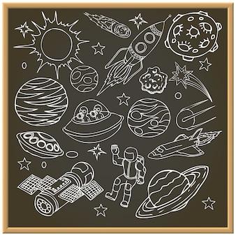 Placa de giz escolar com rabiscos de espaço