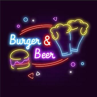 Placa de hambúrguer e cerveja neon