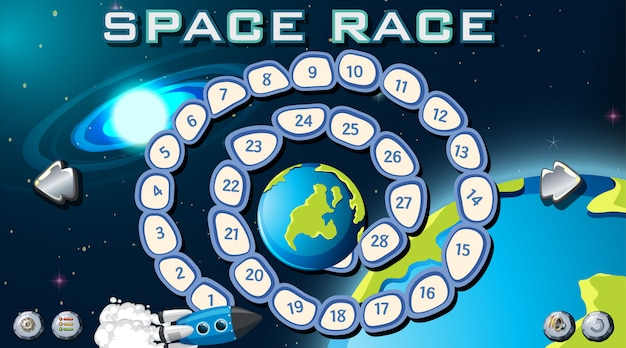 Placa de jogo de corrida espacial