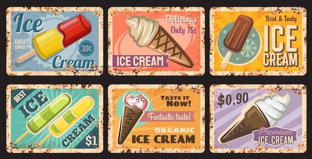 Placa de lata da sorveteria, sobremesa congelada com picolé e placa de metal enferrujada