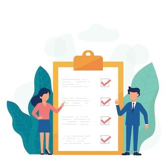 Placa de lista de verificação de negócios