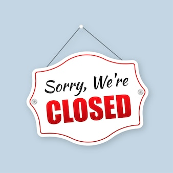 Placa de loja fechada