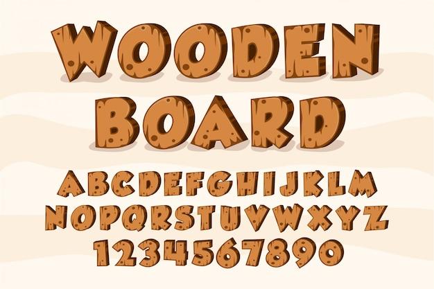 Placa de madeira alfabeto fonte madeira