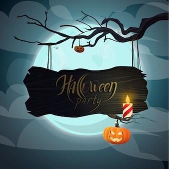 Placa de madeira com a inscrição festa de halloween