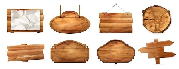 Placa de madeira com textura antiga conjunto 3d