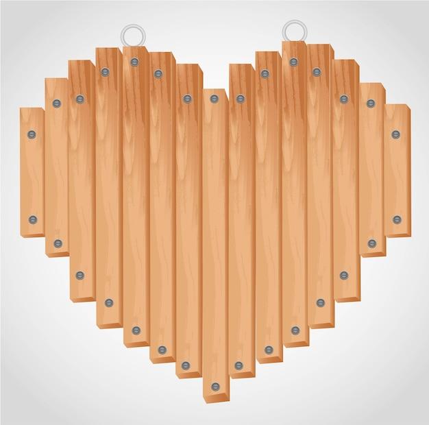 Placa de madeira coração com ilhós para pendurar