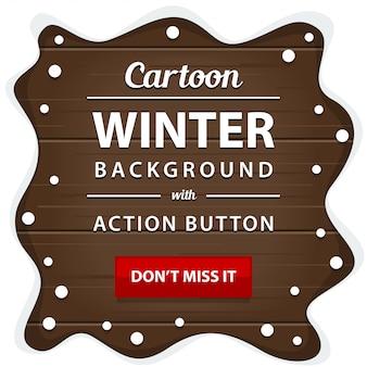 Placa de madeira de inverno com banner de borda de quadro de pilha de neve