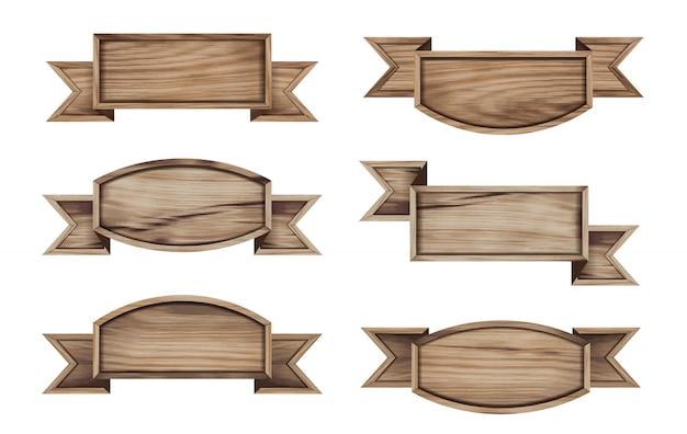 Placa de madeira de vetor e design de fitas de banner