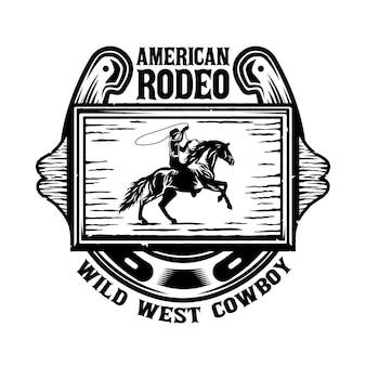 Placa de madeira do oeste selvagem com cowboy no cavalo e ferradura