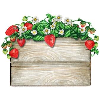 Placa de madeira em aquarela coberta com galhos de morango