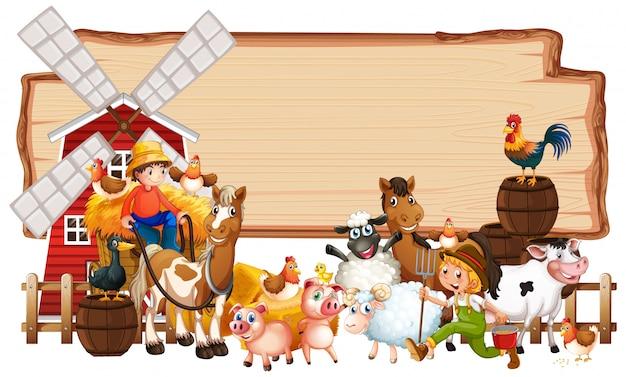 Placa de madeira em branco com fazenda animal conjunto isolado