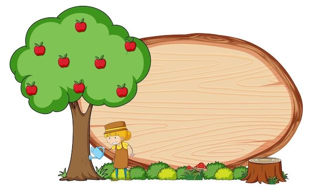 Placa de madeira em branco em forma oval com crianças doodle personagem de desenho animado