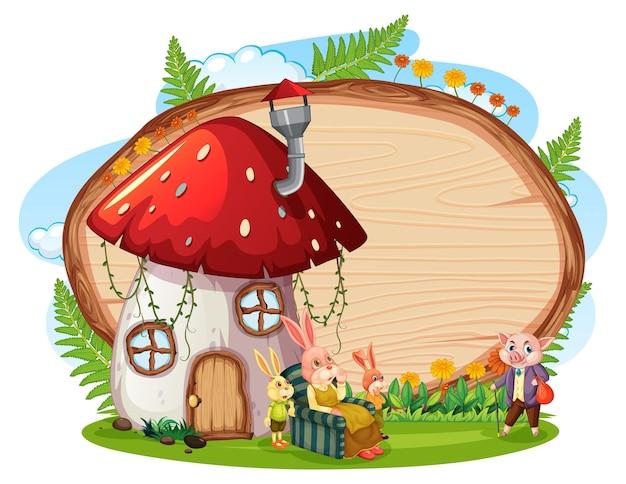 Placa de madeira em branco no jardim com casa de cogumelos isolada