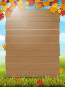 Placa de madeira em fundo de paisagem rural Vetor Premium
