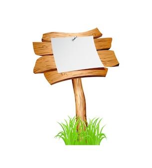 Placa de madeira na grama