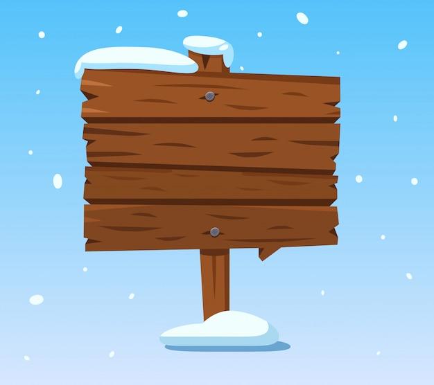 Placa de madeira na neve